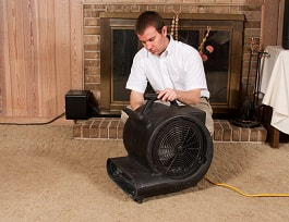 Carpet cleaning technician setting up water damage restoration fan on a brown carpet in a living room.